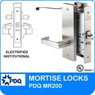 Grade 1 Electrified Institutional Mortise Locks | PDQ MR200 | F Series Escutcheon Trim