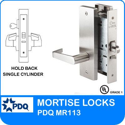 Grade 1 Hold Back Single Cylinder Mortise Locks | PDQ MR113 | F Series Escutcheon Trim