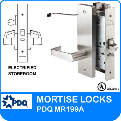 Grade 1 Electrified Storeroom Mortise Locks | PDQ MR199A| J Escutcheon Trim