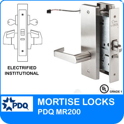 Grade 1 Electrified Institutional Mortise Locks | PDQ MR200 | J Wide Escutcheon Trim