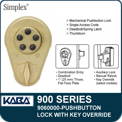 Simplex 900 Series 9060000 Mechanical Pushbutton Lock With Key Override