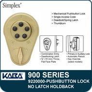 Simplex 900 Series 9220000 Mechanical Pushbutton Lock, No Latch Holdback
