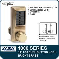 Simplex 1011-03 Mechanical Pushbutton Lock - Bright Brass