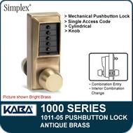 Simplex 1011-05 Mechanical Pushbutton Lock - Antique Brass