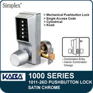 Simplex 1011-26D Mechanical Pushbutton Lock - Satin Chrome