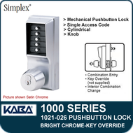 Simplex 1021-026 Mechanical Pushbutton Lock - Bright Chrome - Key Override