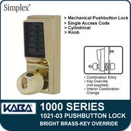 Simplex 1021-03 Mechanical Pushbutton Lock - Bright Brass - Key Override