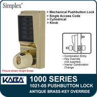 Simplex 1021-05 Mechanical Pushbutton Lock - Antique Brass - Key Override