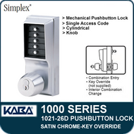 Simplex 1021-26D Mechanical Pushbutton Lock - Satin Chrome - Key Override