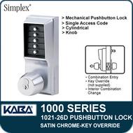 Simplex 1021-26D Mechanical Pushbutton Lock - Satin Chrome - Key Override
