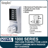 Simplex 1041-026 Mechanical Pushbutton Lock - Bright Chrome - Key Override