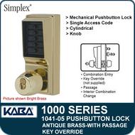 Simplex 1041-05 Mechanical Pushbutton Lock - Antique Brass - Key Override