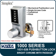 Simplex 1031-026 Mechanical Pushbutton Lock with Passage Feature - Bright Chrome