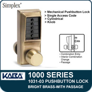Simplex 1031-03 Mechanical Pushbutton Lock with Passage Feature - Bright Brass