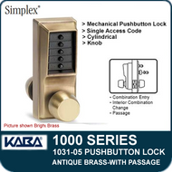 Simplex 1031-05 Mechanical Pushbutton Lock with Passage Feature - Antique Brass