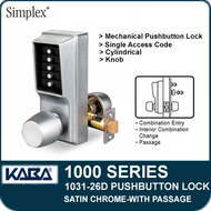 Simplex 1031-26D Mechanical Pushbutton Lock with Passage Feature - Satin Chrome