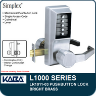 Simplex LR1011-03 - Mechanical Pushbutton Lock - Bright Brass