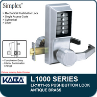 Simplex LR1011-05 - Mechanical Pushbutton Lock - Antique Brass