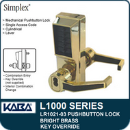 Simplex LR1021-03 - Mechanical Pushbutton Lock With Key Override - Bright Brass