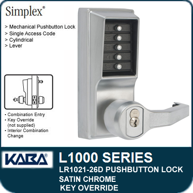 Combination Entry Key Override Core Not Included Lockout Kaba Simplex 8100 Series Metal Right Handed Mechanical Pushbutton Mortise Lock with Lever Satin Chrome Finish Passage R//C Schlage