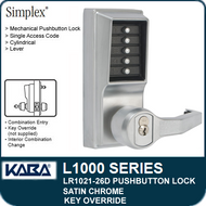 Simplex LR1021-26D - Mechanical Pushbutton Lock With Key Override - Satin Chrome