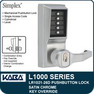 Simplex LR1021-26D - Mechanical Pushbutton Lock With Key Override - Satin Chrome