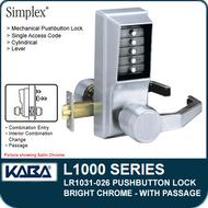 Simplex LR1031-026 - Mechanical Pushbutton Lock With Passage - Bright Chrome