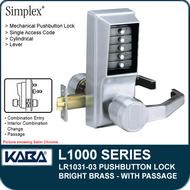 Simplex LR1031-03 - Mechanical Pushbutton Lock With Passage - Bright Brass