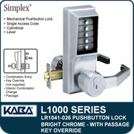 Simplex LR1041-026 - Mechanical Pushbutton Lock With Key Override and Passage - Bright Chrome