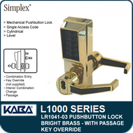 Simplex LR1041-03 - Mechanical Pushbutton Lock With Key Override and Passage - Bright Brass