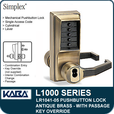 Kaba Simplex L1000 Metal Pushbutton Cylindrical Lock Lever Key Override