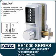 Simplex EE1011-26D Two Sided Mechanical Pushbutton Lock - Satin Chrome