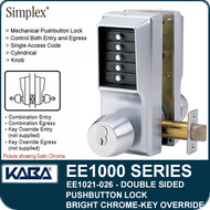 Simplex EE1021-026 Two Sided Mechanical Pushbutton Lock With Key Override - Bright Chrome
