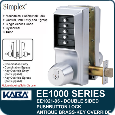 Simplex EE1021-05 Two Sided Mechanical Pushbutton Lock With Key Override - Antique Brass