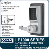 Simplex LLP1020-026 Mechanical Pushbutton Exit Trim Lock with Lever with Key Override - Bright Chrome