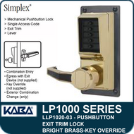 Simplex LLP1020-03 Mechanical Pushbutton Exit Trim Lock with Lever with Key Override - Bright Brass
