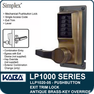 Simplex LLP1020-05 Mechanical Pushbutton Exit Trim Lock with Lever with Key Override - Antique Brass