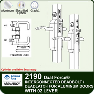 Adams Rite 2190 - Dual Force® Interconnected Deadbolt / Deadlatch for Aluminum Stile Doors - With 02 Lever