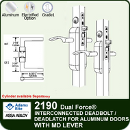 Adams Rite 2190 - Dual Force® Interconnected Deadbolt / Deadlatch for Aluminum Stile Doors - With MD Lever