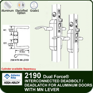 Adams Rite 2190 - Dual Force® Interconnected Deadbolt / Deadlatch for Aluminum Stile Doors - With MN Lever