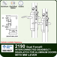 Adams Rite 2190 - Dual Force® Interconnected Deadbolt / Deadlatch for Aluminum Stile Doors - With MW Lever
