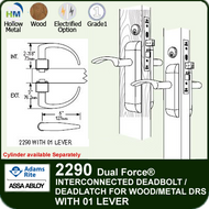 Adams Rite 2290 - Dual Force® Interconnected Deadbolt / Deadlatch for Wood or Hollow Metal Stile and Rail Doors - With 01 Lever