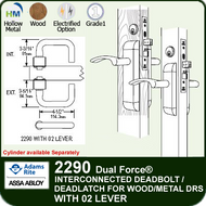Adams Rite 2290 - Dual Force® Interconnected Deadbolt / Deadlatch for Wood or Hollow Metal Stile and Rail Doors - With 02 Lever