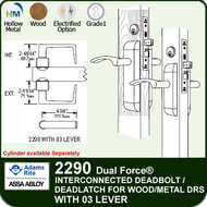 Adams Rite 2290 - Dual Force® Interconnected Deadbolt / Deadlatch for Wood or Hollow Metal Stile and Rail Doors - With 03 Lever
