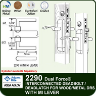 Adams Rite 2290 - Dual Force® Interconnected Deadbolt / Deadlatch for Wood or Hollow Metal Stile and Rail Doors - With MI Lever