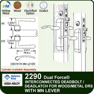 Adams Rite 2290 - Dual Force® Interconnected Deadbolt / Deadlatch for Wood or Hollow Metal Stile and Rail Doors - With MN Lever