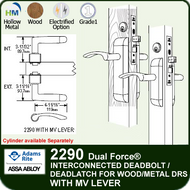 Adams Rite 2290 - Dual Force® Interconnected Deadbolt / Deadlatch for Wood or Hollow Metal Stile and Rail Doors - With MV Lever