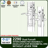 Adams Rite 2290 - Dual Force® Interconnected Deadbolt / Deadlatch for Wood or Hollow Metal Stile and Rail Doors - Without Lever/Trim