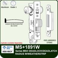 Adams Rite MS+1891W - Series MS® Deadlock/Deadlatch - Radius Faceplate with Weatherstrip