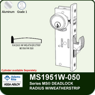 Adams Rite MS1951W-050 - Series MS® Deadlock - Radius Faceplate with Weatherstrip